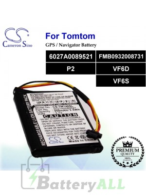 CS-TM140SL For TomTom GPS Battery Model 6027A0089521 / FMB0932008731 / P2 / VF6D / VF6S