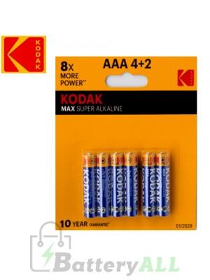 Kodak MAX Alkaline AAA / R03(UM-4) / IMPA 792410 / MN2400 1.5V Battery (4+2 pack)