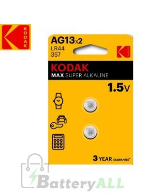 Kodak ULTRA Alkaline A76 LR44 / AG13 / AG13-2 1.5V Battery (2 pack)