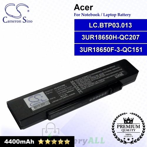 CS-AC215NB For Acer Laptop Battery Model 3UR18650F-3-QC151 / 3UR18650H-QC207 / LC.BTP03.013