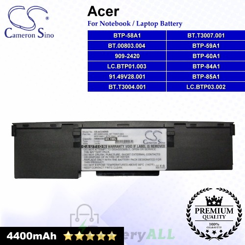 CS-AC240NB For Acer Laptop Battery Model 909-2420 / 91.49V28.001 / BT.00803.004 / BT.T3004.001 / BT.T3007.001