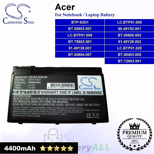 CS-AC3000HB For Acer Laptop Battery Model 60.49Y02.001 / 91.49Y28.001 / 91.49Y28.002 / BT.00403.005