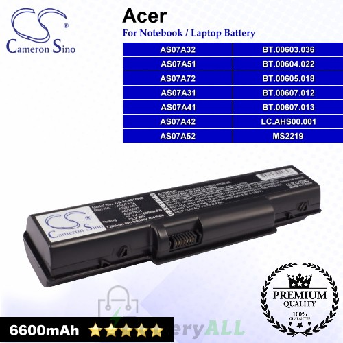 CS-AC4310HB For Acer Laptop Battery Model AS07A31 / AS07A32 / AS07A41 / AS07A42 / AS07A51 / AS07A52