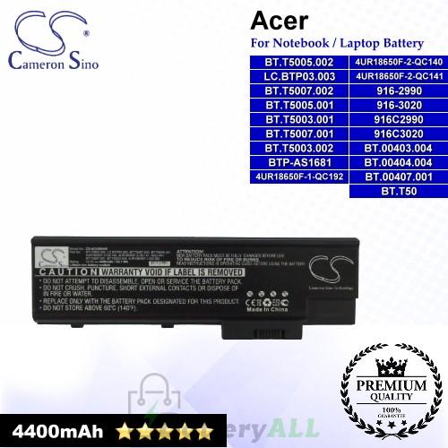 CS-AC4500HB For Acer Laptop Battery Model 10268468 / 11649277 / 3UR18650Y-2-QC236 / 4UR18650F-1-QC192