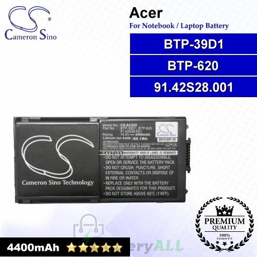 CS-AC620 For Acer Laptop Battery Model 91.42S28.001 / BTP-39D1 / BTP-620