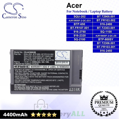 CS-AC660HB For Acer Laptop Battery Model 4UR18650F-2-QC-ZG1 / 4UR18650F-2-QC-ZS / 916-2320 / 916-2450