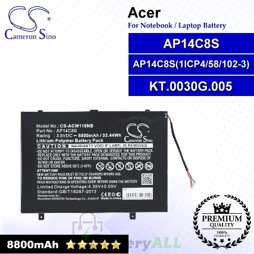 CS-ACW110NB For Acer Laptop Battery Model AP14C8S / AP14C8S(1ICP4/58/102-3) / KT.0030G.005
