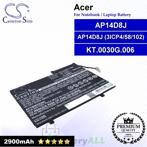 CS-ACW171NB For Acer Laptop Battery Model AP14D8J / AP14D8J (3ICP4/58/102) / KT.0030G.006