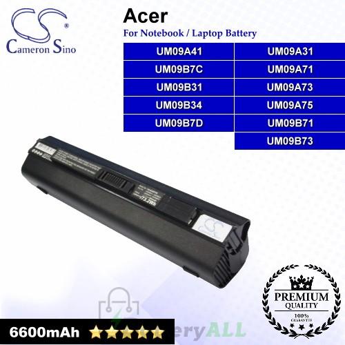 CS-ACZG7DK For Acer Laptop Battery Model UM09A31 / UM09A41 / UM09A71 / UM09A73 / UM09A75 / UM09B31
