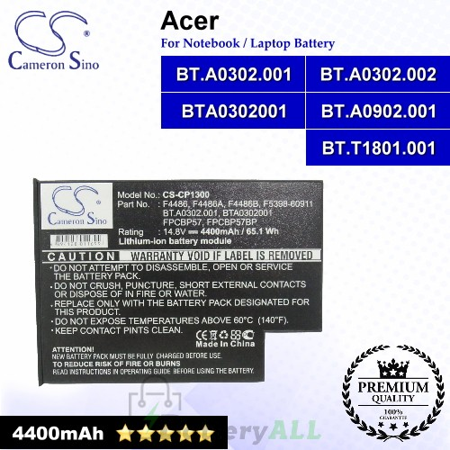 CS-CP1300 For Acer Laptop Battery Model BT.A0302.001 / BT.A0302.002 / BT.A0902.001 / BT.T1801.001 / BTA0302001