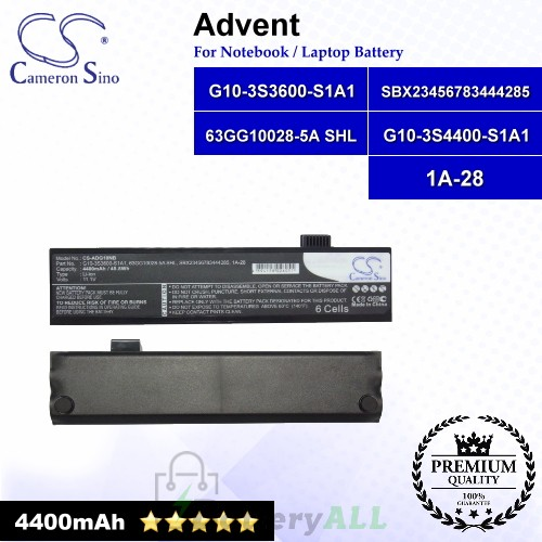 CS-ADG10NB For Advent Laptop Battery Model 1A-28 / 63GG10028-5A SHL / G10-3S3600-S1A1 / SBX23456783444285 (Black)