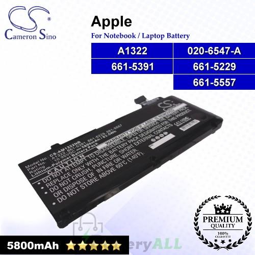 CS-AM1322NB For Apple Laptop Battery Model 020-6547-A / 661-5229 / 661-5391 / 661-5557 / A1322