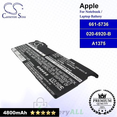 CS-AM1375NB For Apple Laptop Battery Model 020-6920-B / 661-5736 / A1375