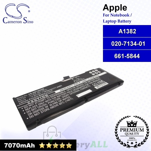 CS-AM1382NB For Apple Laptop Battery Model 020-7134-01 / 661-5844 / A1382