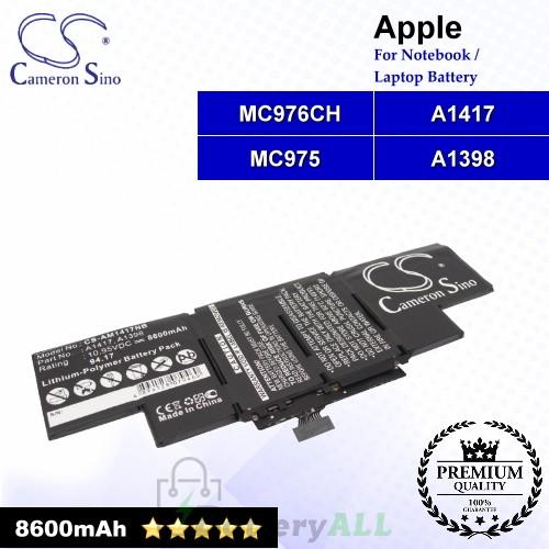 CS-AM1417NB For Apple Laptop Battery Model A1398 / A1417