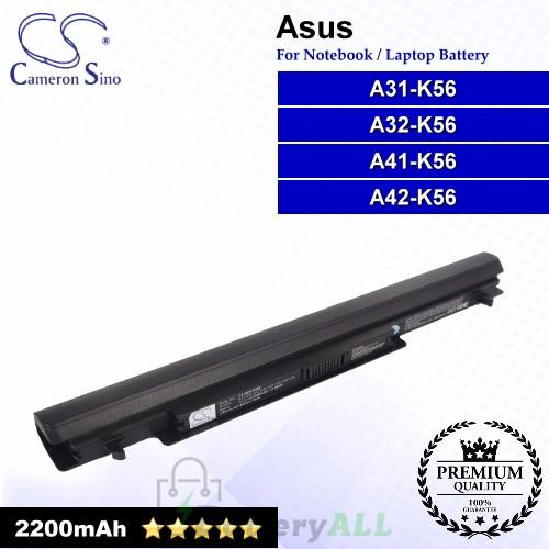 CS-AUK56NB For Asus Laptop Battery Model A31-K56 / A32-K56 / A41-K56 / A42-K56