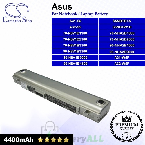 CS-AUS5HD For Asus Laptop Battery Model 70-N8V1B1100 / 70-N8V1B2100 / 70-N8V1B3100 / 70-NHA2B1000 (Silver)