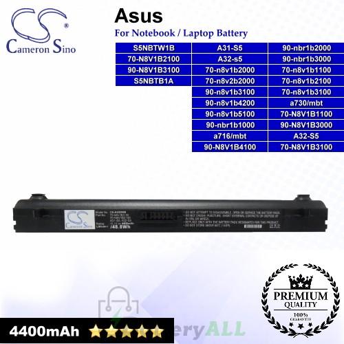 CS-AUS5NB For Asus Laptop Battery Model 70-n8v1b1100 / 70-n8v1b2000 / 70-n8v1b2100 / 70-N8V1B3100 / 70-n8v2b2000 (Black)