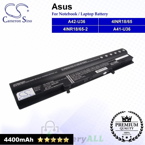 CS-AUU36NB For Asus Laptop Battery Model 4INR18/65 / 4INR18/65-2 / A41-U36 / A42-U36
