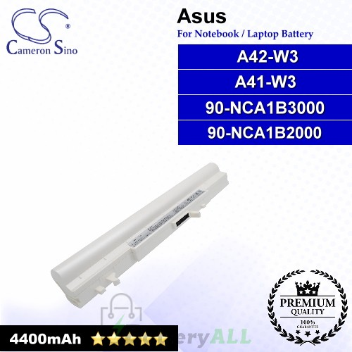 CS-AUW3DB For Asus Laptop Battery Model 90-NCA1B2000 / 90-NCA1B3000 / A41-W3 / A42-W3 (White)
