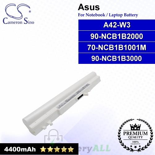 CS-AUW3NB For Asus Laptop Battery Model 70-NCB1B1001M / 90-NCB1B2000 / 90-NCB1B3000 / A42-W3 (Metallic Grey)