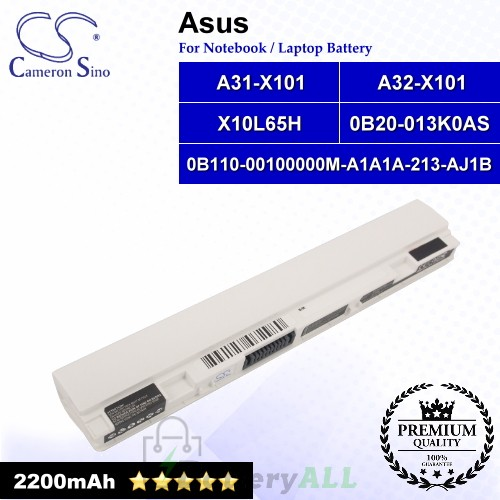 CS-AUX101NT For Asus Laptop Battery Model 0B110-00100000M-A1A1A-213-AJ1B / 0B20-013K0AS / A31-X101 (White)