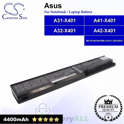 CS-AUX401NB For Asus Laptop Battery Model 0B110-00140100E-A1A11-205-003U / A31-X401 / A32-X401 / A41-X401