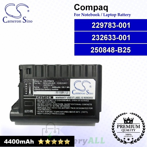 CS-CPN610 For Compaq Laptop Battery Model 229783-001 / 232633-001 / 250848-B25