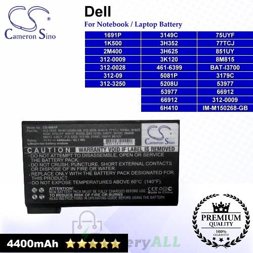 CS-5081P For Dell Laptop Battery Model 1691P / 1K500 / 2M400 / 312-0009 / 312-0028 / 312-09 / 312-3250 / 3149C