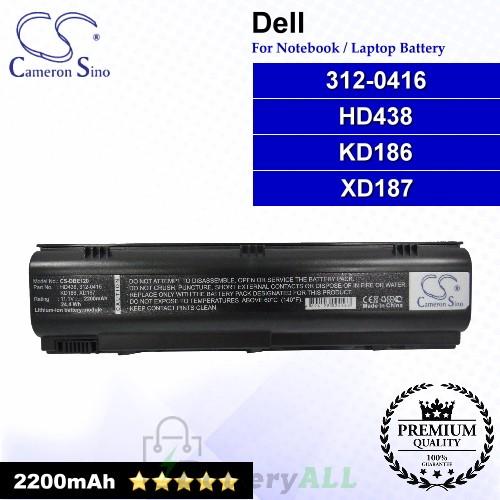 CS-DBE120 For Dell Laptop Battery Model 312-0416 / HD438 / KD186 / XD187