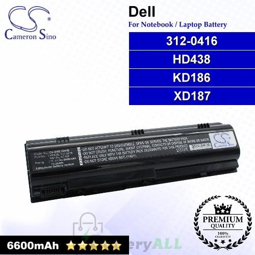 CS-DBE120HB For Dell Laptop Battery Model 312-0416 / HD438 / KD186 / XD187