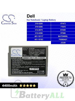 CS-DE100 For Dell Laptop Battery Model 310-5205 / 310-5206 / 312-0079 / 312-0296 / 451-10117 / 451-10183 / 6T473