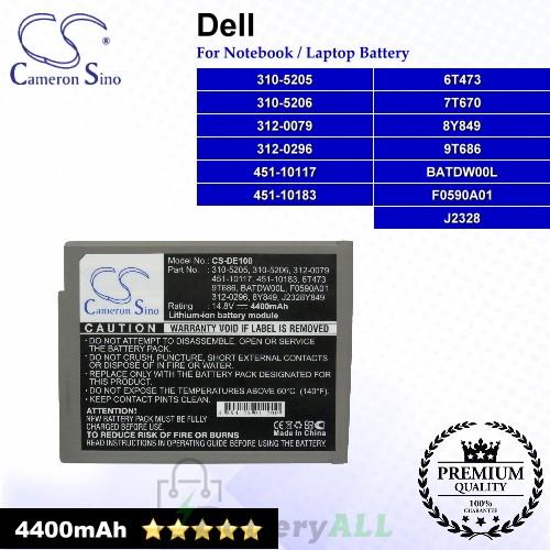 CS-DE100 For Dell Laptop Battery Model 310-5205 / 310-5206 / 312-0079 / 312-0296 / 451-10117 / 451-10183 / 6T473