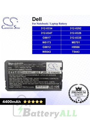 CS-DE1200NB For Dell Laptop Battery Model 312-0292 / 312-0326 / 312-0334 / 312-0335 / 312-0347 / G9812 / G9817