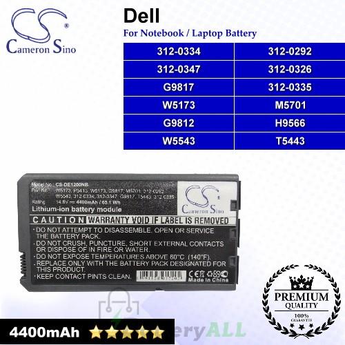 CS-DE1200NB For Dell Laptop Battery Model 312-0292 / 312-0326 / 312-0334 / 312-0335 / 312-0347 / G9812 / G9817