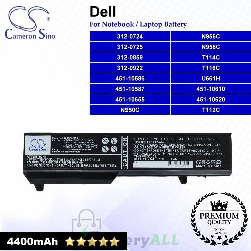 CS-DE1310NB For Dell Laptop Battery Model 312-0724 / 312-0725 / 312-0859 / 312-0922 / 451-10586 / 451-10587