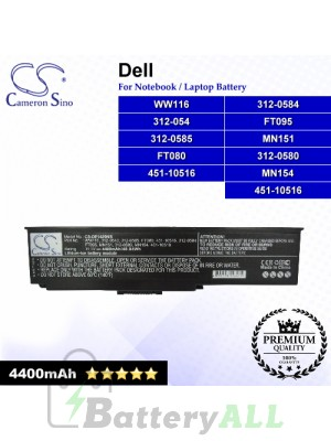 CS-DE1420NB For Dell Laptop Battery Model 312-0543 / 312-0580 / 312-0584 / 312-0585 / 451-10516 / FT079 / FT080