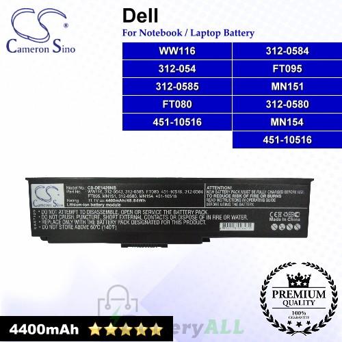 CS-DE1420NB For Dell Laptop Battery Model 312-0543 / 312-0580 / 312-0584 / 312-0585 / 451-10516 / FT079 / FT080