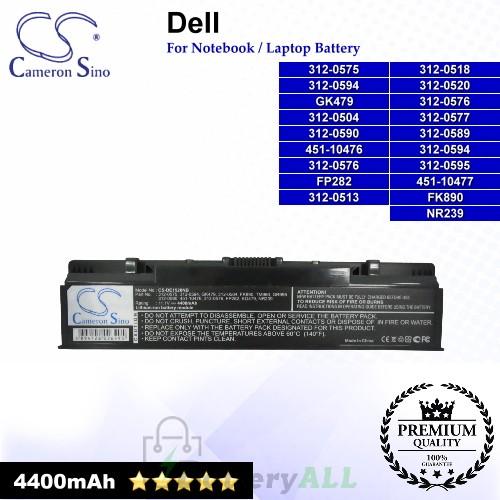 CS-DE1520NB For Dell Laptop Battery Model 0DY375 / 0FK890 / 0GK479 / 0GR986 / 0GR99 / 0GR995 / 0NR222 / 0NR239