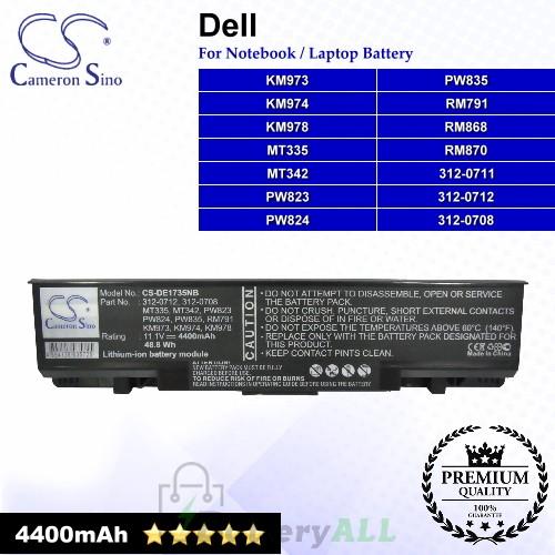 CS-DE1735NB For Dell Laptop Battery Model 312-0708 / 312-0711 / 312-0712 / KM973 / KM974 / KM978 / MT335