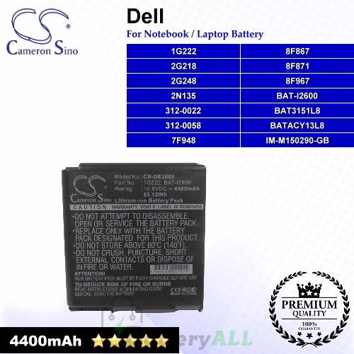 CS-DE2600 For Dell Laptop Battery Model 1G222 / 2G218 / 2G248 / 2N135 / 312-0022 / 312-0058 / 7F948 / 8F867