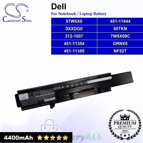 CS-DE3300HB For Dell Laptop Battery Model 050TKN / 07W5X0 / 07W5X09C / 093G7X / 0GRNX5 / 0NF52T / 0V9TYF