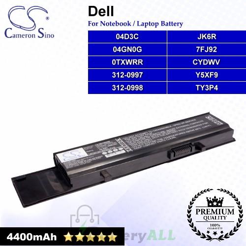 CS-DE3400NB For Dell Laptop Battery Model 04D3C / 04GN0G / 0TXWRR / 312-0997 / 312-0998 / 7FJ92 / CYDWV
