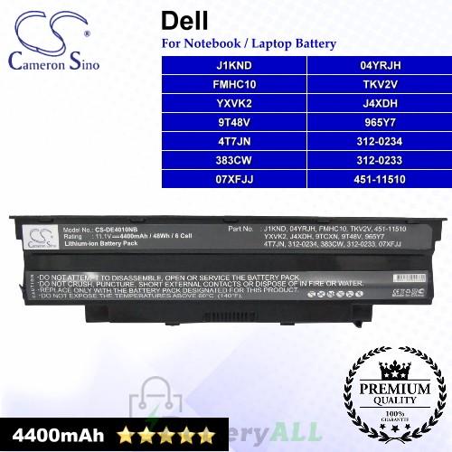 CS-DE4010NB For Dell Laptop Battery Model 04YRJH / 07XFJJ / 312-0233 / 312-0234 / 383CW / 451-11510 / 4T7JN
