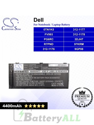 CS-DE4600NB For Dell Laptop Battery Model 0TN1K5 / 312-1176 / 312-1177 / 312-1178 / 3DJH7 / 97KRM / 9GP08