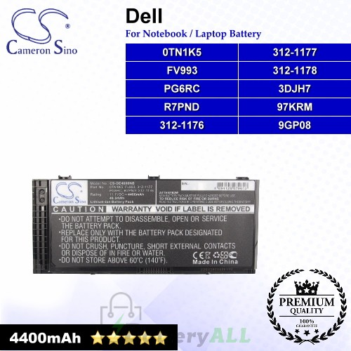 CS-DE4600NB For Dell Laptop Battery Model 0TN1K5 / 312-1176 / 312-1177 / 312-1178 / 3DJH7 / 97KRM / 9GP08
