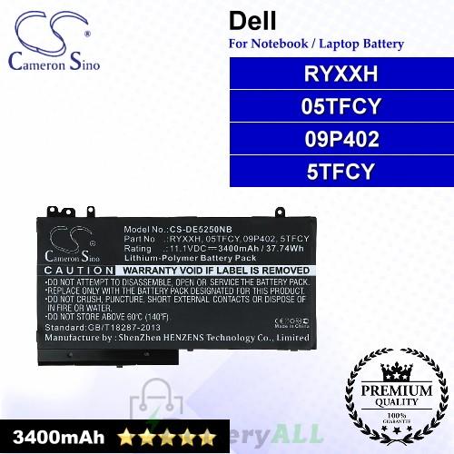 CS-DE5250NB For Dell Laptop Battery Model 05TFCY / 09P402 / 5TFCY / RYXXH