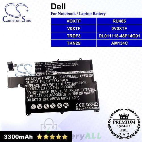CS-DE5323NB For Dell Laptop Battery Model 0V0XTF / AM134C / DL011118-48P14G01 / RU485 / TKN25 / TRDF3 / V0XTF / VOXTF