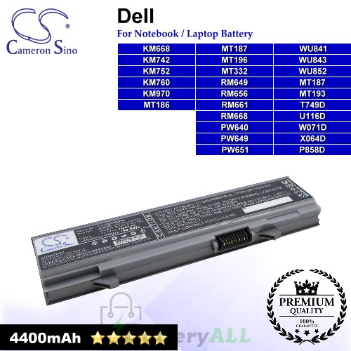 CS-DE5400NB For Dell Laptop Battery Model KM668 / KM742 / KM752 / KM760 / KM970 / MT186 / MT187 / MT193