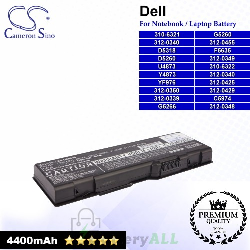CS-DE6000 For Dell Laptop Battery Model 310-6321 / 310-6322 / 312-0339 / 312-0340 / 312-0348 / 312-0349 / 312-0350